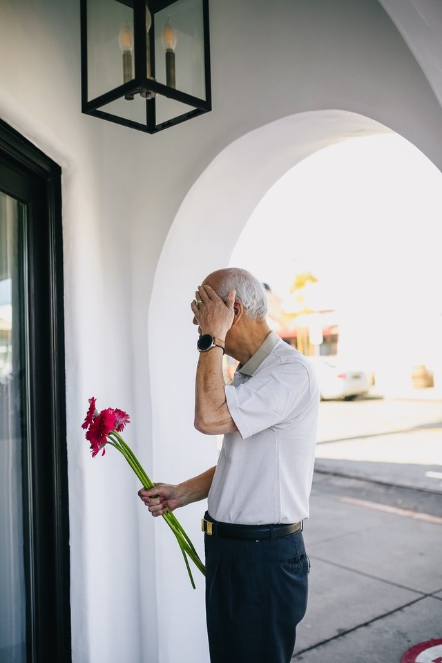 asian grandpa with flower