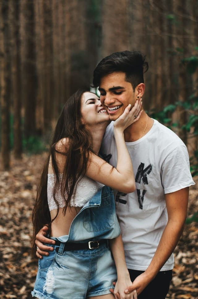 couple dating in forest